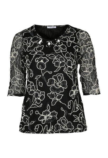 T-shirt in bedrukte kant - Zwart