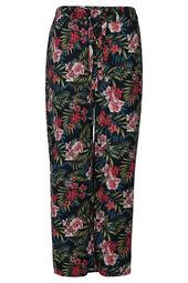 Soepel vallende broek met tropische print