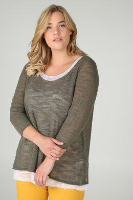 Dubbele trui in licht tricot, Kaki