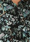 Robe chemise imprimé fleuri, Noir