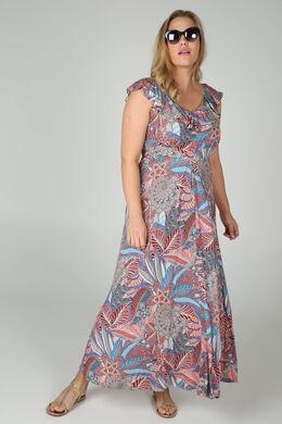 Robe longue imprimé ethnique, multicolor