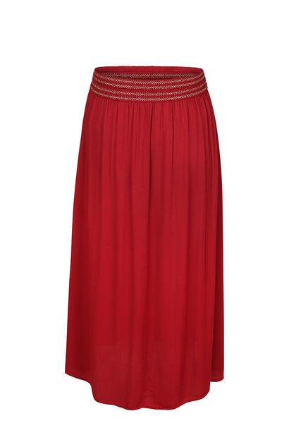 Lange rok met elastische tailleband in lurex - Bordeaux