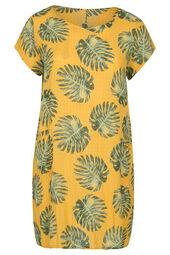 Robe lin imprimé feuilles de palmier