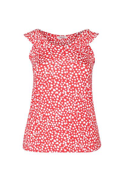 Top in koel tricot met stippenprint - Rood