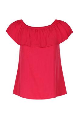 T-shirt met elastische halsopening, Fushia