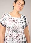 T-shirt met satijneffect, bedrukt met stippen en bloemen, Roze
