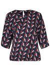 Elastische blouse met fantasieprint, Marineblauw