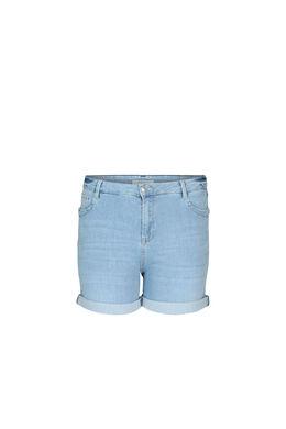 Short en jeans détail d'œillets, Denim clair