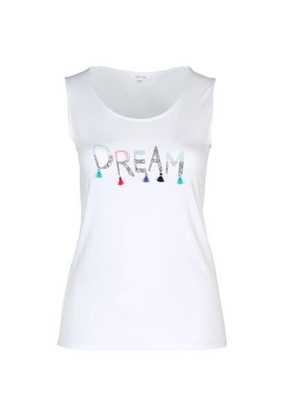 "T-shirt met ""Dream""-print en pompons - Wit"