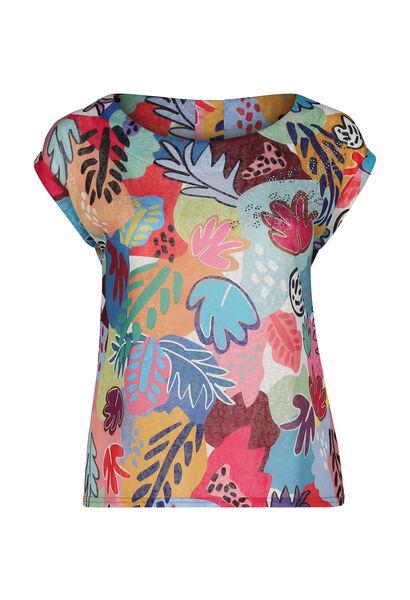 T-shirt maille lin imprimé coloré - multicolor