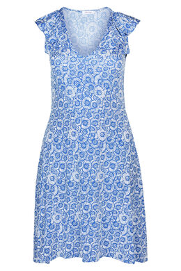 Jurk in koel tricot met bloemenprint met gom, Bic blauw