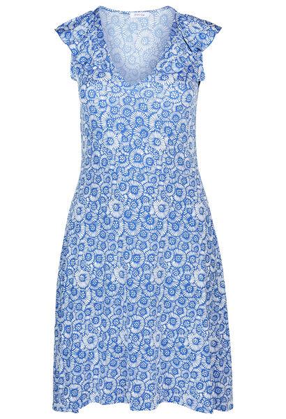 Jurk in koel tricot met bloemenprint met gom - Bic blauw