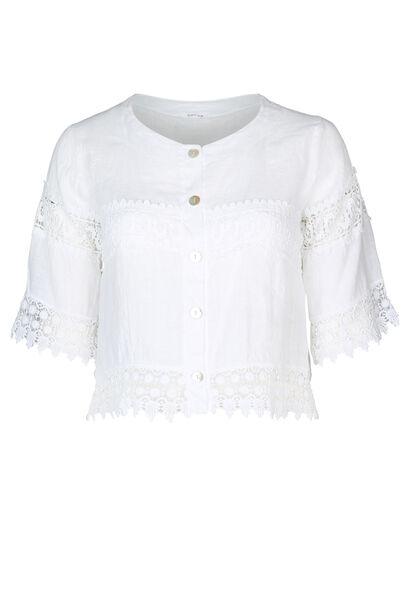 Veste courte en lin brodée - Blanc