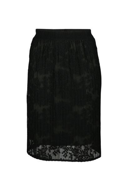 Halflange rok in geborduurde kant - Zwart