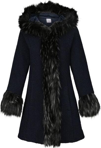 Manteau fausse fourrure avec capuche - Marine