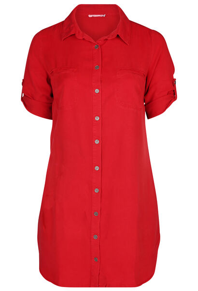 Jurk met hemdskraag in lyocell - Rood