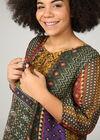 Zijden blouse met etnische patchprint, Oker