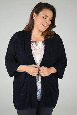 Lange cardigan in bouclétricot, Marineblauw
