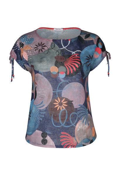 T-shirt maille lin imprimé géométrique - multicolor
