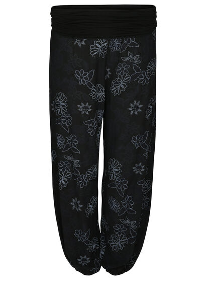 Soepel vallende broek met bloemenprint - Zwart