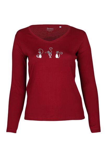 T-shirt met 3 poezen - Bordeaux