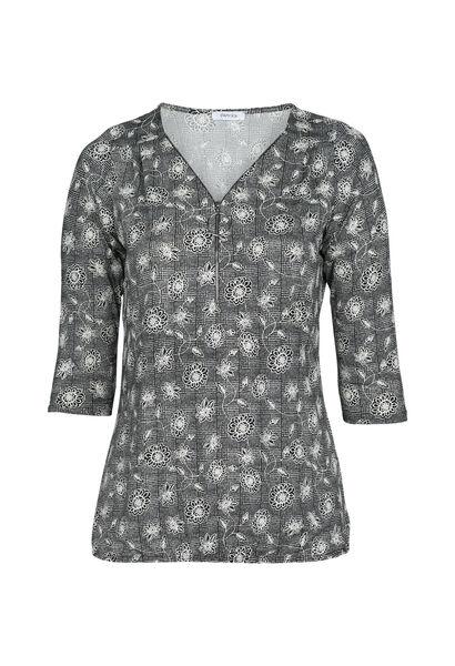 T-shirt met bloemetjesprint - Zwart