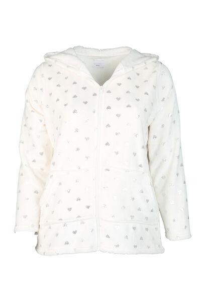 Homewear-jasje met hartjes - Ecru