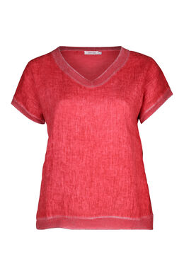 T-shirt devant lin dos en maille, Orange