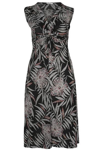 Lange jurk met gomprint van palmbladeren - Zwart