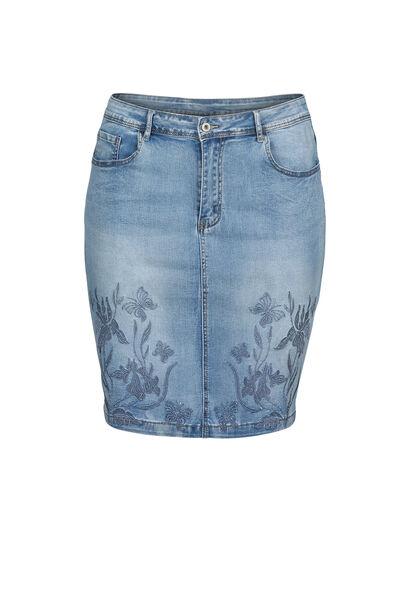 Jupe en jeans broderies et strass - Denim