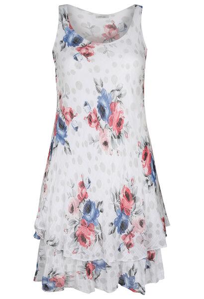 Lange, linnen jurk met bloemen en stippen - Wit