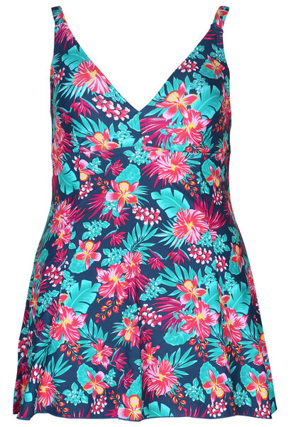 Maillot de bain robe imprimé tropical - multicolor