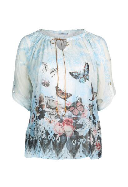 Blouse imprimé de papillons - Ciel