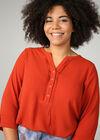 Effen blouse met knoopjeskraag, Oranje