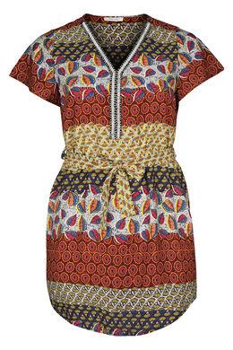 Robe tunique imprimé ethnique, multicolor