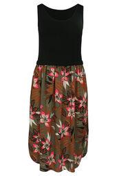 Robe longue imprimé fleurs tropicales