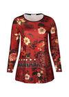 Tunique t-shirt imprimé grandes fleurs, Brique