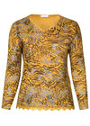 T-shirt in warm tricot met luipaardprint, Oker