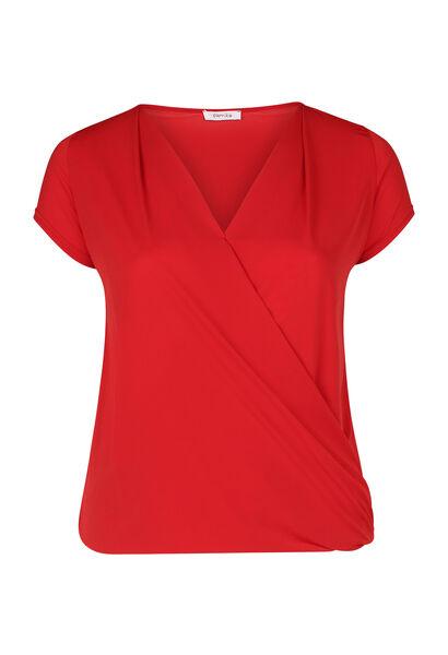 T-shirt met gekruist en gedrapeerd effect - Oranje