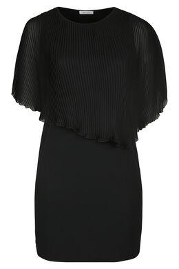 Robe haut voile plissé, Noir