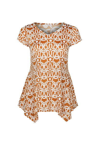 Tuniek-T-shirt in tricot met gomprint - Oker