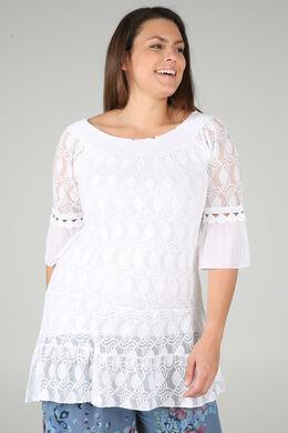 Tunique t-shirt en résille brodée et crêpe, Blanc