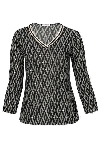 T-shirt imprimé géométrique avec bandes lurex - Noir
