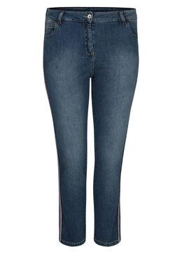 Kuitlange jeans met lurexboorden, Denim