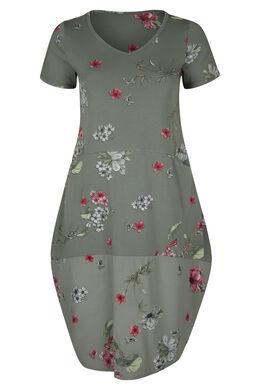 Lange jurk met opbollend effect en bloemenprint, Kaki