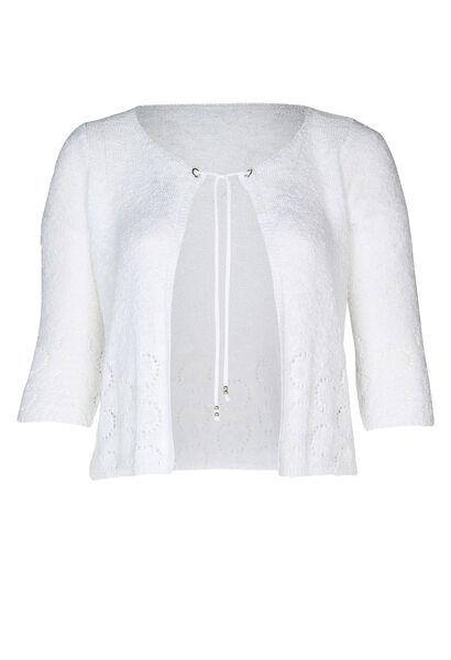 Cardigan motifs ajourés manches 3/4 - Blanc