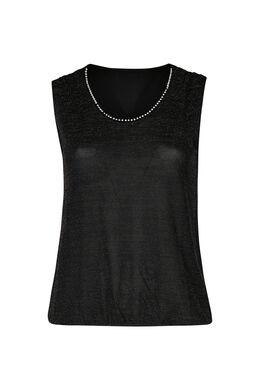 T-shirt in lurextricot, Zwart