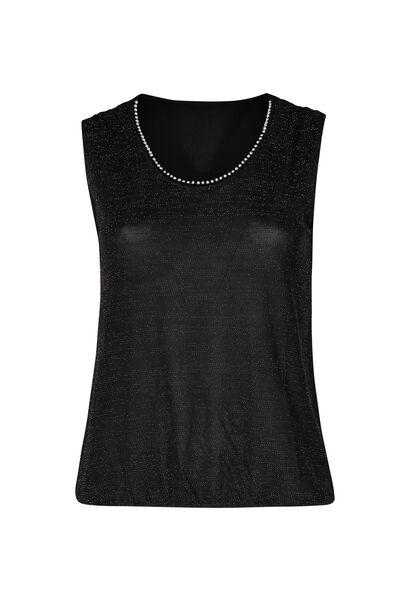 T-shirt in lurextricot - Zwart