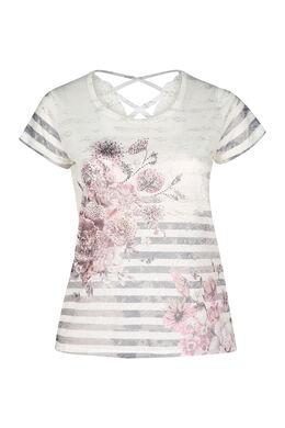 T-shirt imprimé rayé et fleuri, Rose