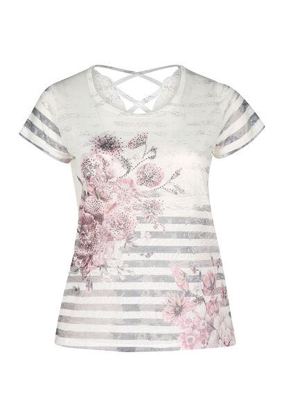 T-shirt met strepen en bloemen - Roze